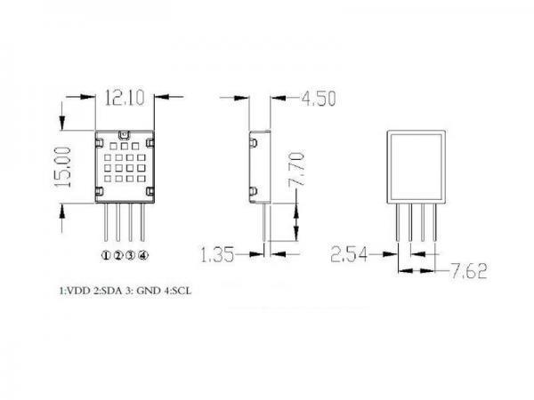 AM2320 Luftfeuchtigkeit Luffeuchte Temperatur Sensor I2C 1wire SHT Sensirion Ersatz 7 - Ramser Elektrotechnik Webshop