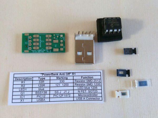 Power Bank Anti Off R1 Bausatz Teileübersicht - Ramser Elektrotechnik Webshop