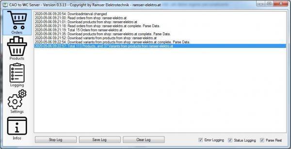 CAO_WC_Server Logging CAO Faktura WooCommerce Schittstelle Interface - Ramser Elektrotechnik Webshop