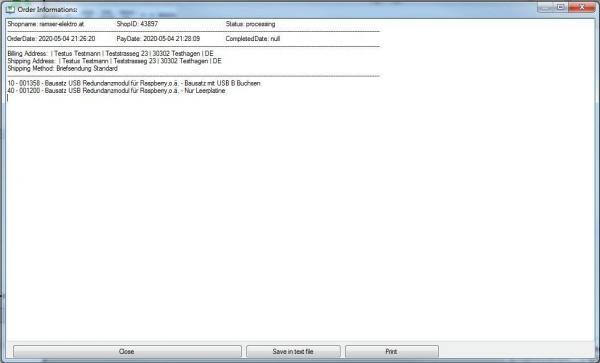 CAO_WC_Server Single Order Info CAO Faktura WooCommerce Schittstelle Interface - Ramser Elektrotechnik Webshop